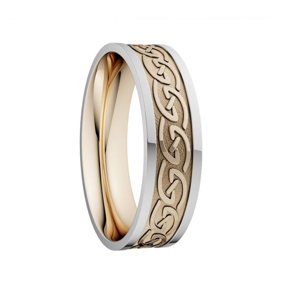Celtic Waves Wedding Ring with White Rails - Wide