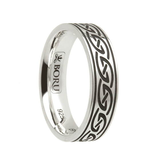 Sterling Silver Celtic Waves Wedding Ring