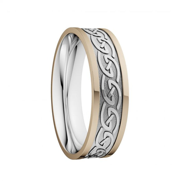 Celtic Waves Wedding Ring with Yellow Rails - Wide