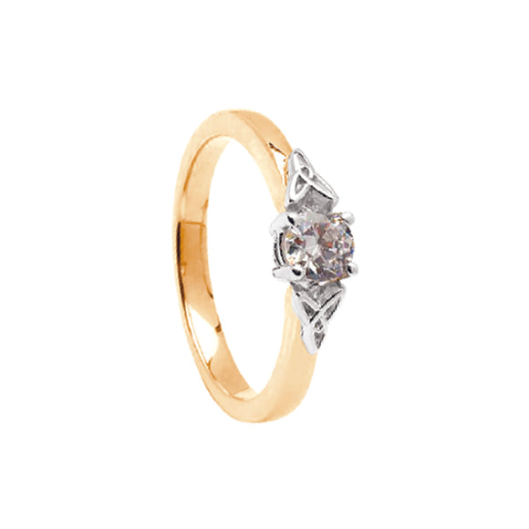 14ct Gold Diamond Engagement Ring with Trintiy Knots