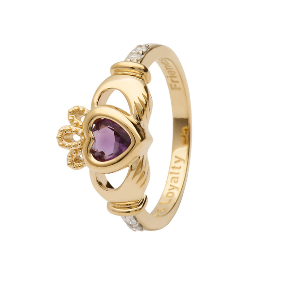 14ct Yellow  Gold Light Amethyst June Birthstone Claddagh Ring