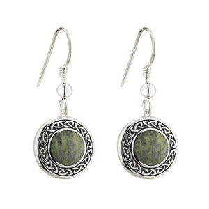 Sterling Silver Connemara Marble Celtic Drop Earrings