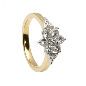 14ct Gold Celtic Cluster Diamond Engagement Ring