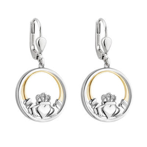 Sterling Silver and 10ct Gold Diamond Claddagh Earrings