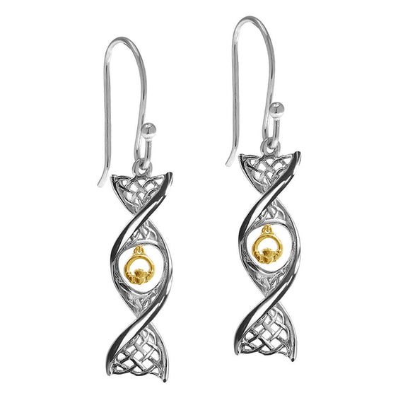 Sterling Silver Celtic DNA Claddagh Drop Earrings