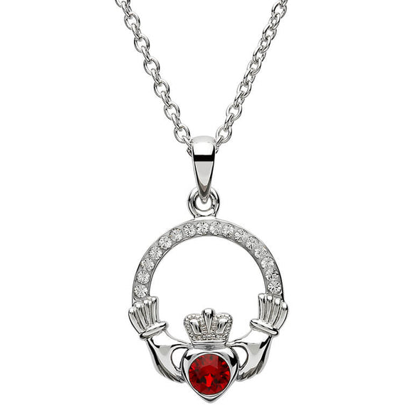 Sterling Silver Claddagh January Birthstone Pendant with Swarovski Crystals