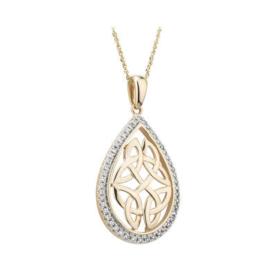 14ct Gold Diamond Celtic Knot Pendant