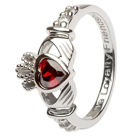 Sterling Silver January Birthstone Claddagh Ring