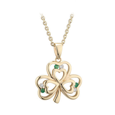 14ct Yellow Gold Diamond and Emerald Shamrock Pendant