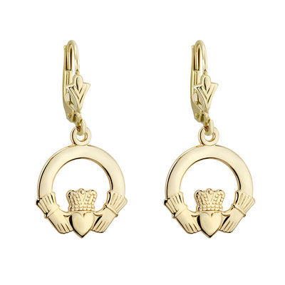 14ct Yellow Gold Claddagh Earrings