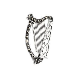 Sterling Silver Marcasite Harp Brooch