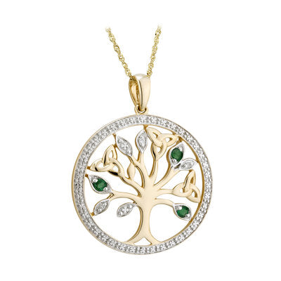 14ct Yellow Gold Diamond and Emerald Celtic Tree Of Life Pendant