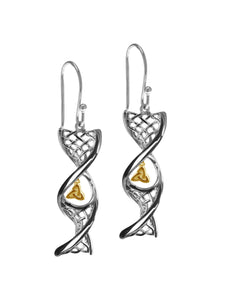 Sterling Silver Celtic DNA Trinity Knot Drop Earrings