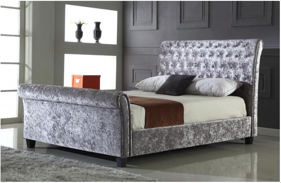 Vicenzo Crushed Velvet 4FT6 Double Size Bed in Silver