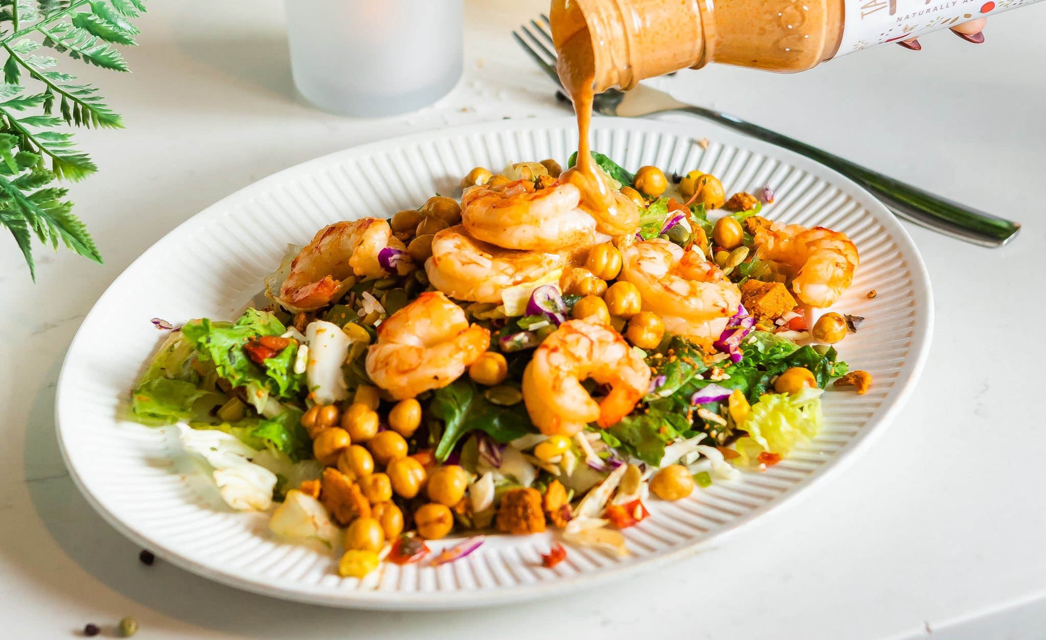 Shrimp Chopped Salad with Creamy Tahini Dressing