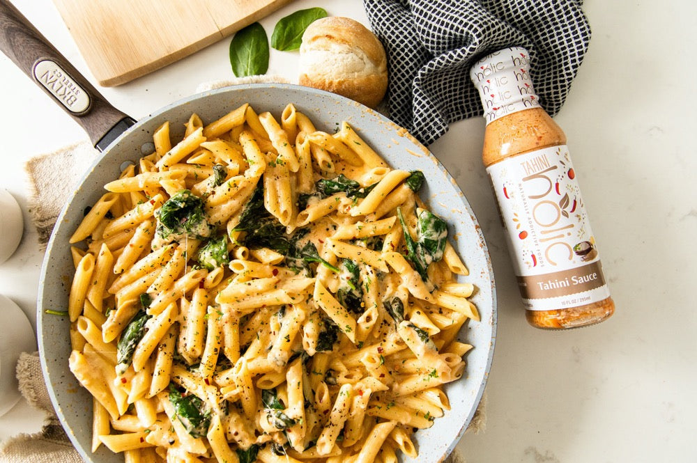 One Pot Cheesy Tahini Pasta