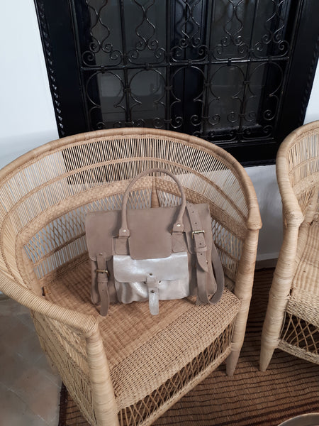 SAC CARTABLE  DAIM TAUPE/ARGENTE