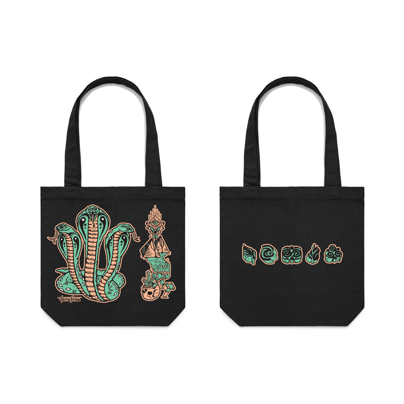 Snakes Black Tote Bag