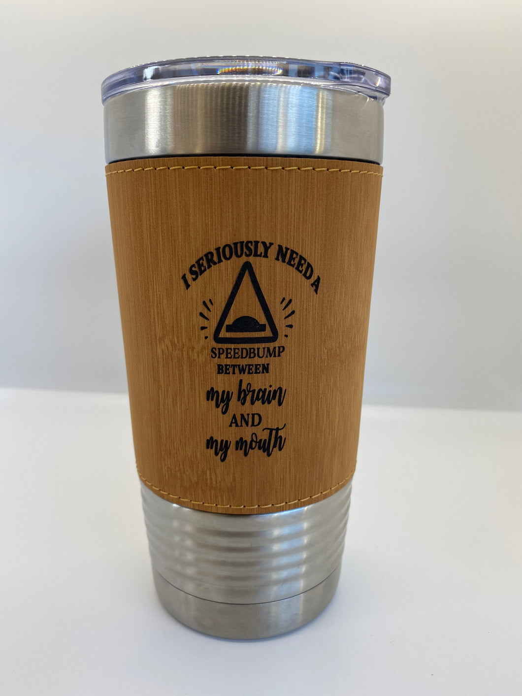 20oz Laser Engraved Bamboo Leatherette Wrapped Stainless Steel Polar Camel Tumbler