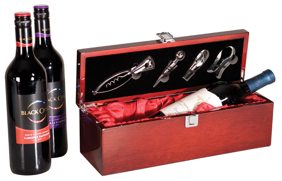 Personalized Rosewood Piano Finish Single Wine Box with Tools