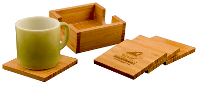 Personalized Bamboo 4-Coaster Set with Holder