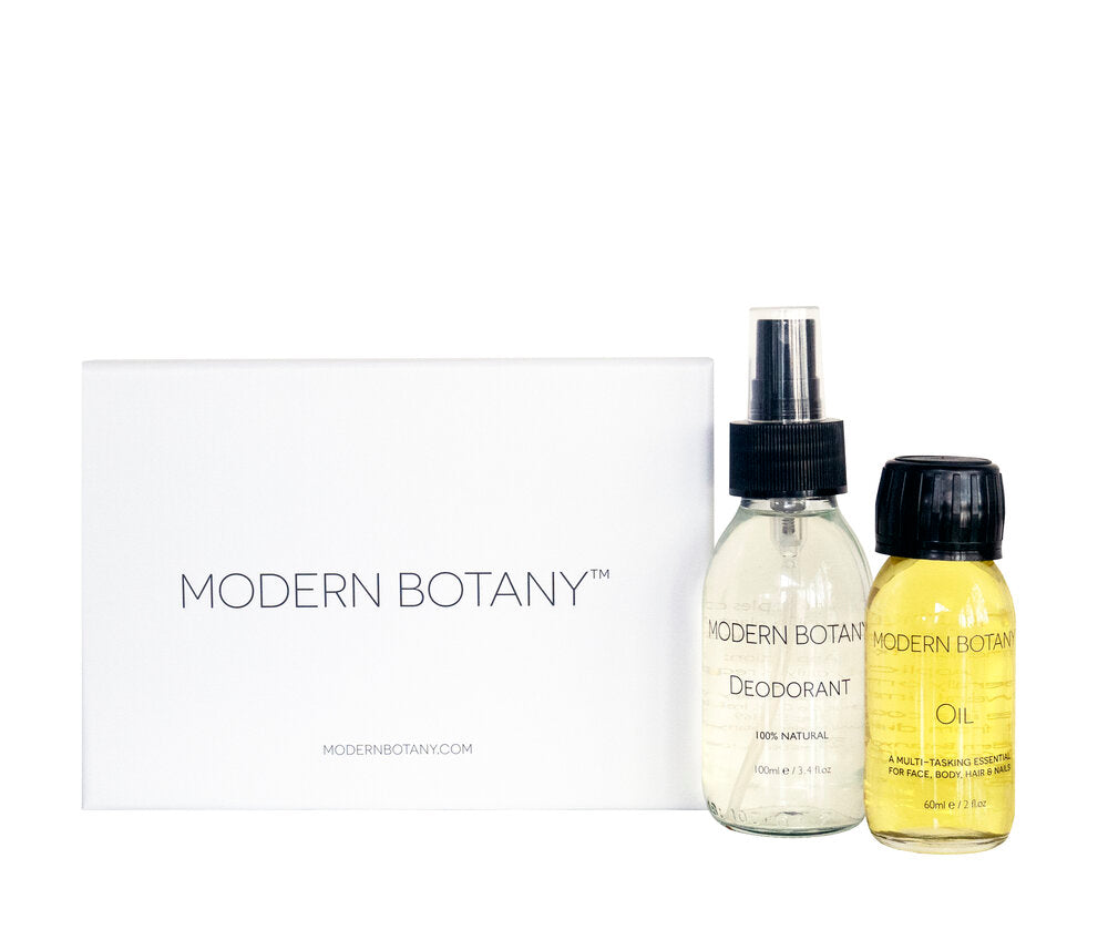 Modern Botany Oil, 60ml Modern Botany Deodorant, 100ml Gift box lined with tissue paper