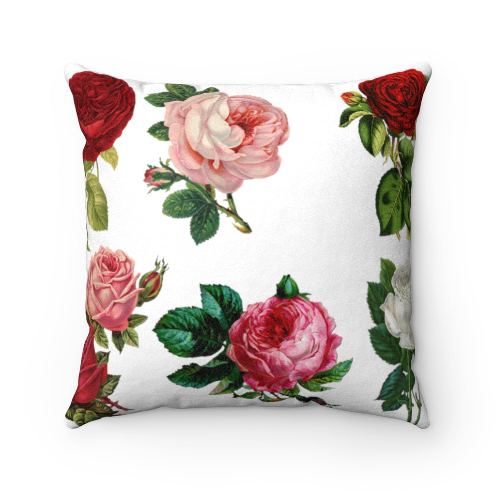 SMELL THE ROSES Faux Suede Pillow