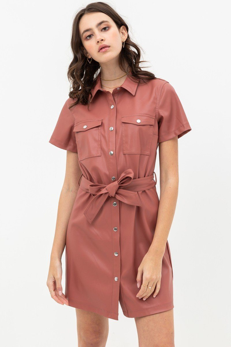 DORIAN Button Shirt Dress with Waist Tie