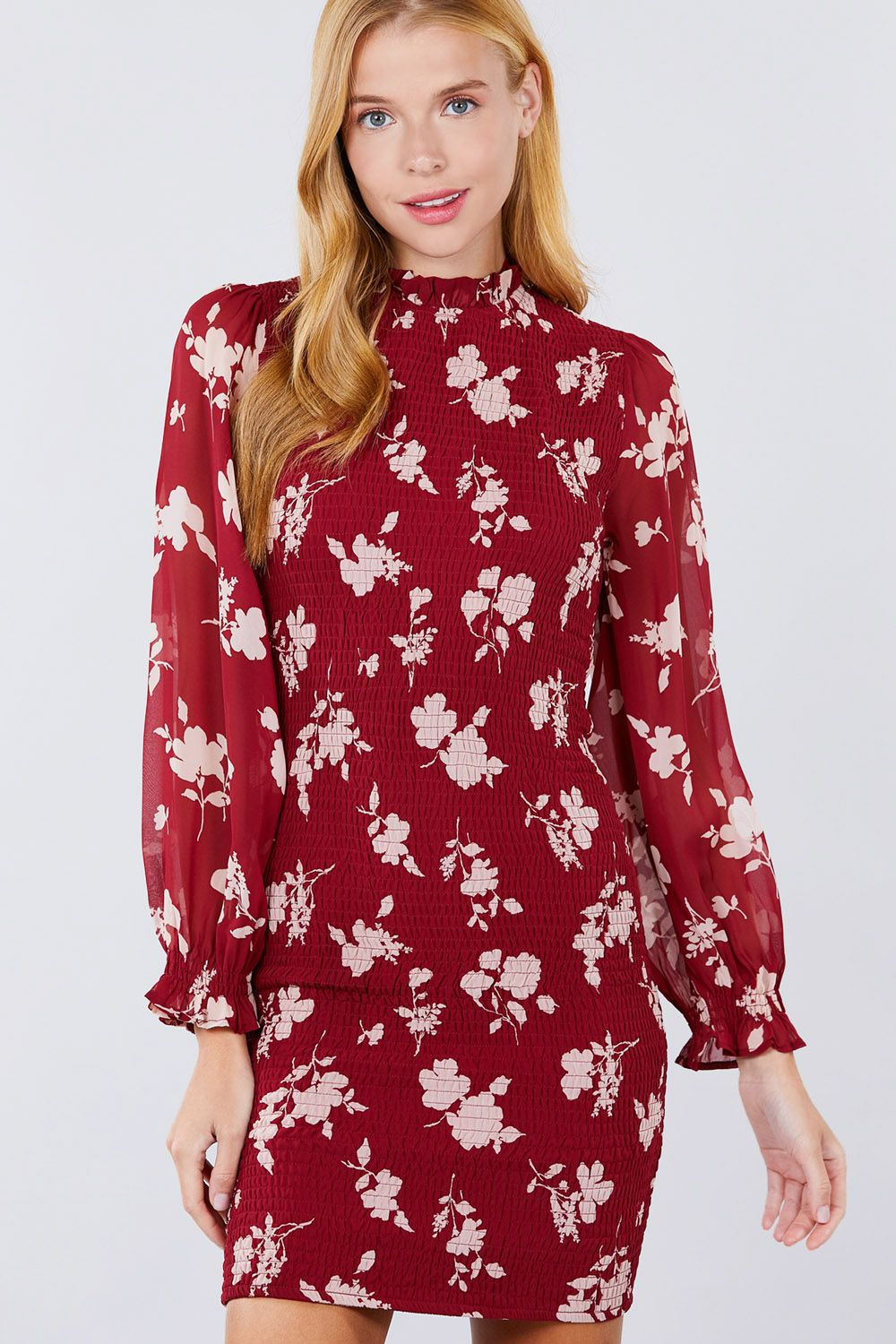 STEFANA Ruffle Sleeve Print Mini Dress