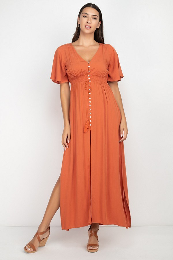 IVY Side Slit Smocked Maxi Dress