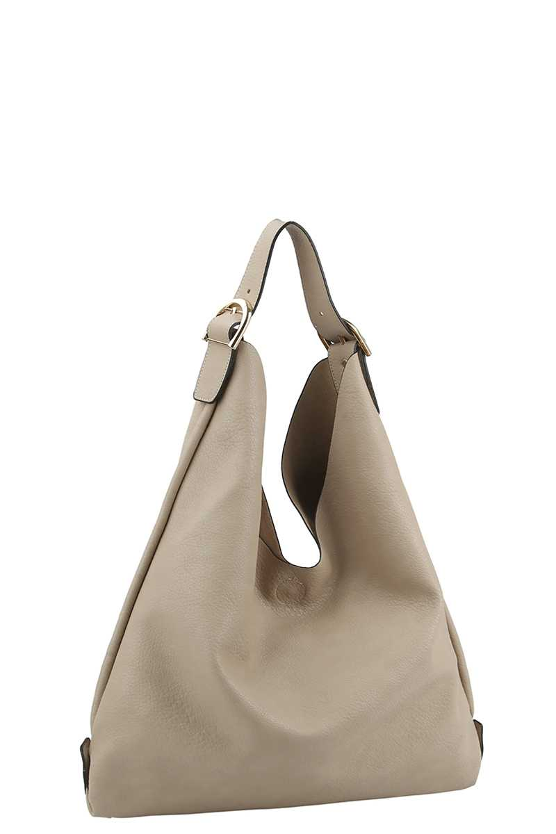 Textured Buckle Hobo Bag