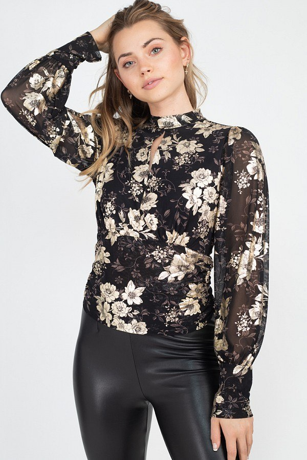 AMIRA Floral Keyhole Top