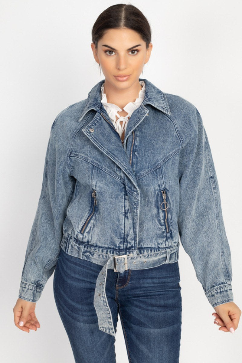 BABY Ribbed Hem Belted Denim Jacket