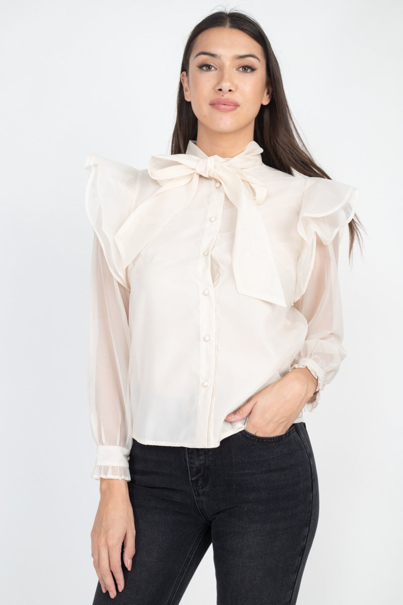 KEHLIA Neck Bow Tie Ruffle Blouse