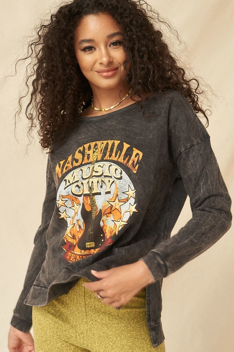NASH CITY Mineral Washed French Terry  Sweatshirt