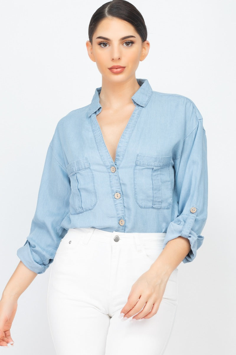 DEMMIES Chambray Button L/S Top