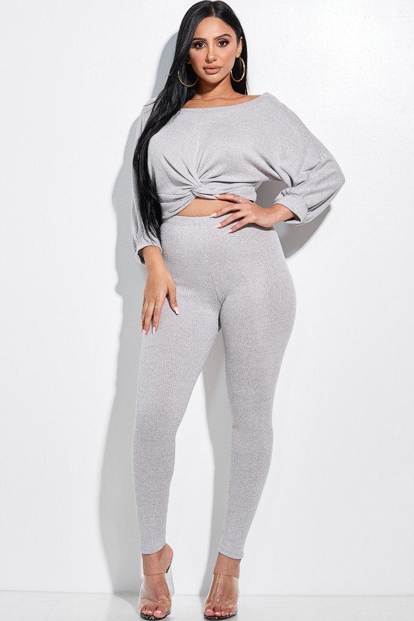 EVELINE Rib Knit Knotted Top & Leggings - 2 Piece Set