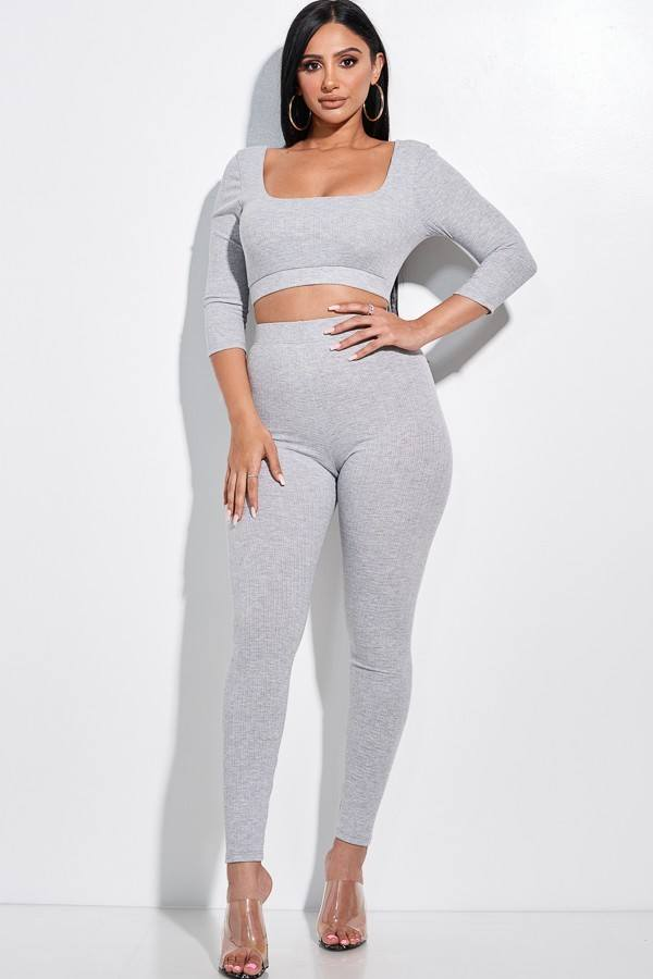 MEECHY Pointelle Stitch 3/4 Sleeve Cropped Top & Leggings - 2 Piece Set