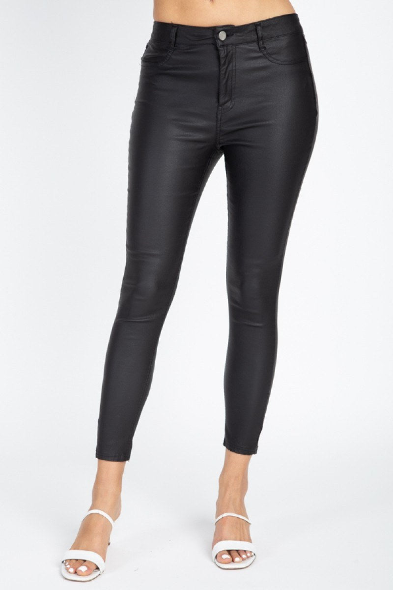 DOBLA Faux Leather Skinny Pants