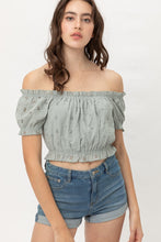 Load image into Gallery viewer, BONDIE Off Shoulder, Cropped Puff Sleeve