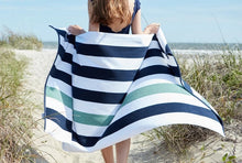 Load image into Gallery viewer, MIDNIGHT BLUE & SEA GLASS Cabana Beach Towel