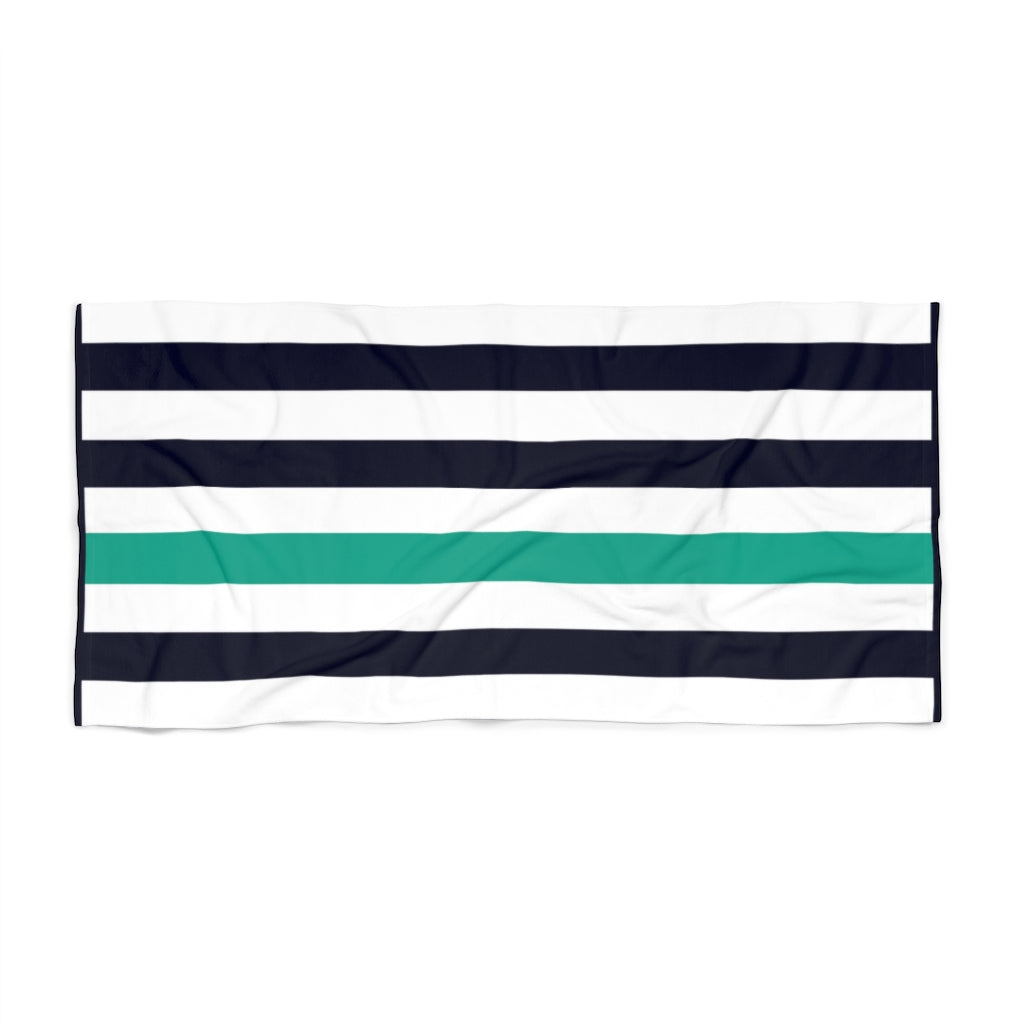 MIDNIGHT BLUE & SEA GLASS Cabana Beach Towel