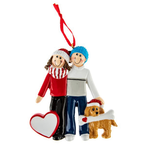 Couple with Dog Personalised Decoration