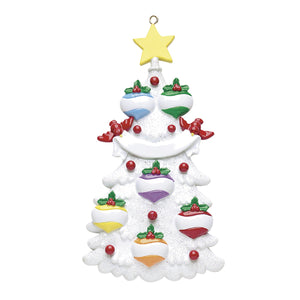 White Christmas Tree Family 6
