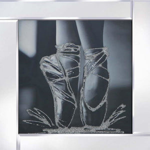 Ballet Shoes on mirrored frame