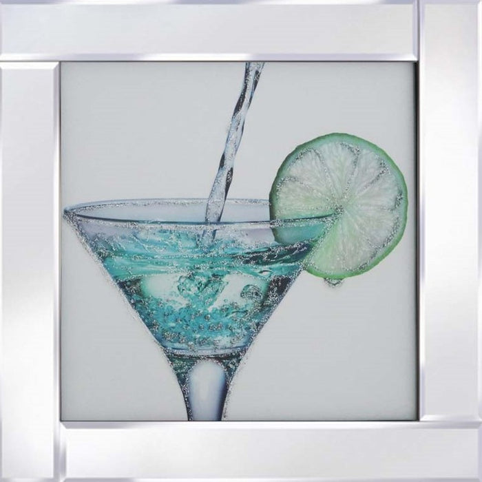 Blue Cocktail on mirrored frame