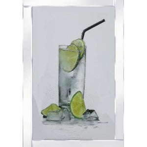 Gin & Tonic Cocktail on mirrored frame