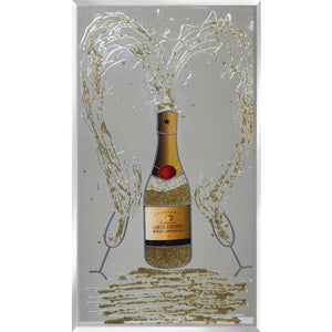 Gold Champagne Bottle with Glasses