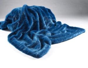 Luxury Bluestone Faux Fur Bed Throw