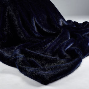 Luxury Navy Faux Fur Bed Throw